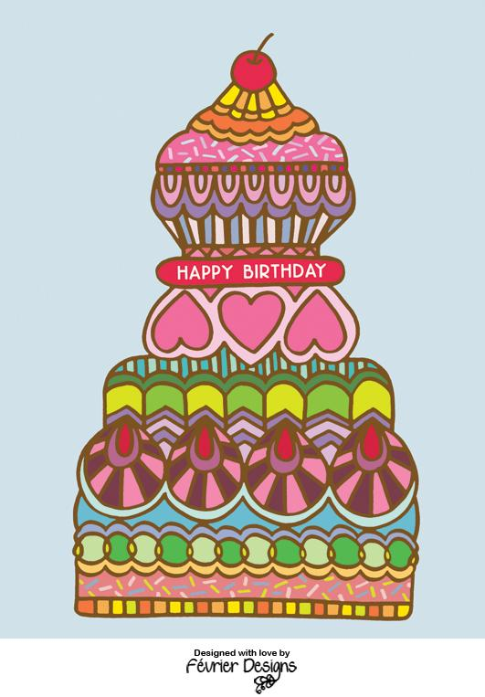 Big Birthday Cake Card - Birthday Cards - Fevrier Designs - Naiise