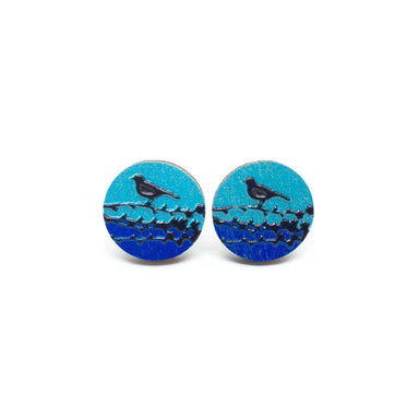 Bird On A Branch Blue Wooden Earrings - Earrings - Paperdaise Accessories - Naiise
