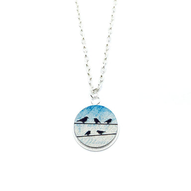 Birds On Power Line Wood Pendant Necklace - Necklaces - Paperdaise Accessories - Naiise
