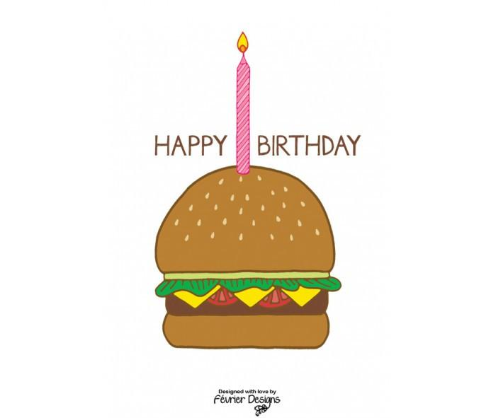 Birthday Burger Card - Birthday Cards - Fevrier Designs - Naiise