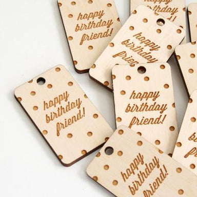 Birthday Confetti Wood Tag - Gift Tags - Oh, Hello Friend - Naiise