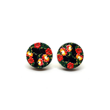 Black Floral Daisy Wooden Earrings - Earrings - Paperdaise Accessories - Naiise