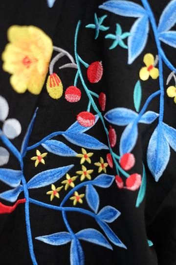 Black Hana Embroidery Midi Kimono Dress Dresses Ans.ein