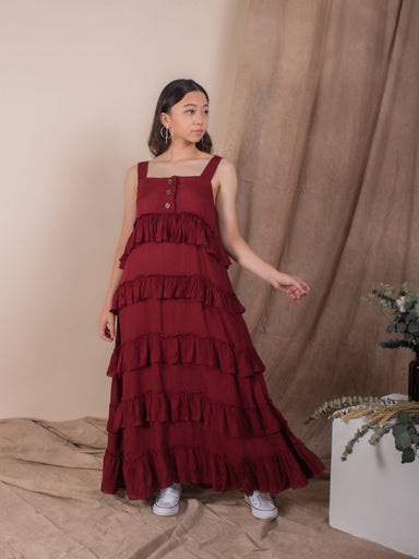 Blood Red Ruffles Midi Dress - Dresses - Whispers & Anarchy - Naiise