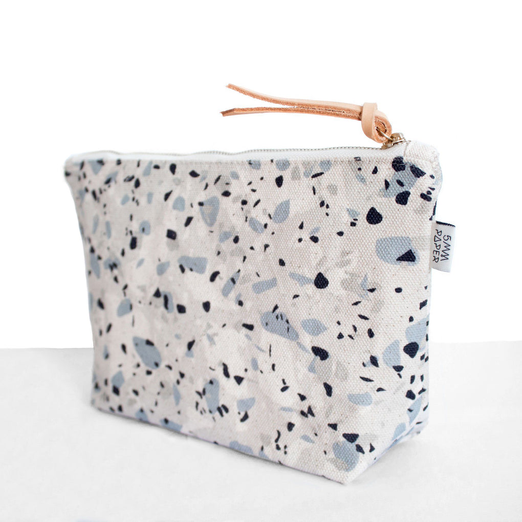 Blue Grey I Terrazzo Cosmetic Bag Cosmetic Bags 5mm Paper