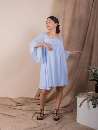 Blue Ice Melt Exposed Back Bell Sleeve Dress - Dresses - Whispers & Anarchy - Naiise