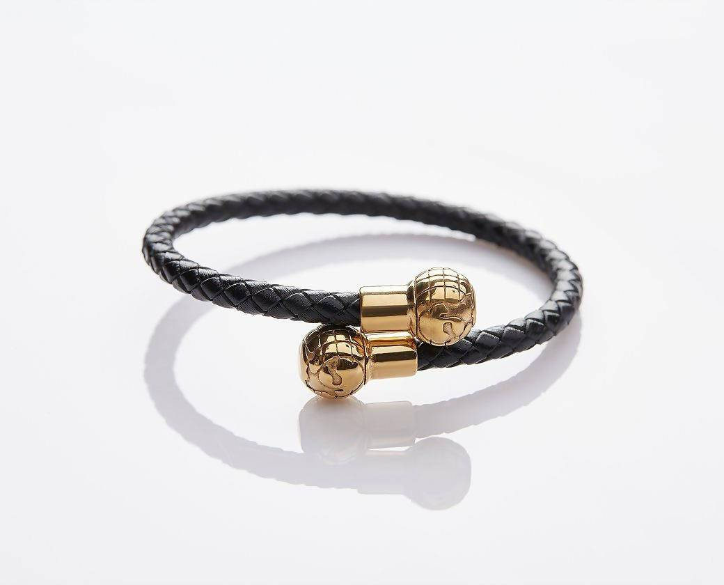 J. By Jee Braided Leather Gold Globes Bracelet - Men's Bracelets - J By Jee - Naiise