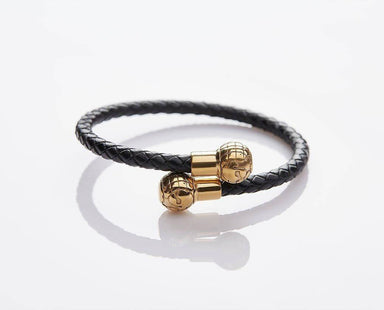 Braided Leather Gold Globes - JEM-317027-BLK Men's Bracelets J By Jee