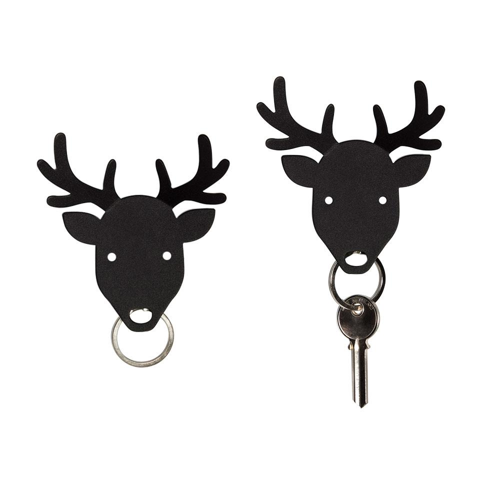 Bull, Deer and Moose Key Holder Key Holders Qualy Deer (Black)