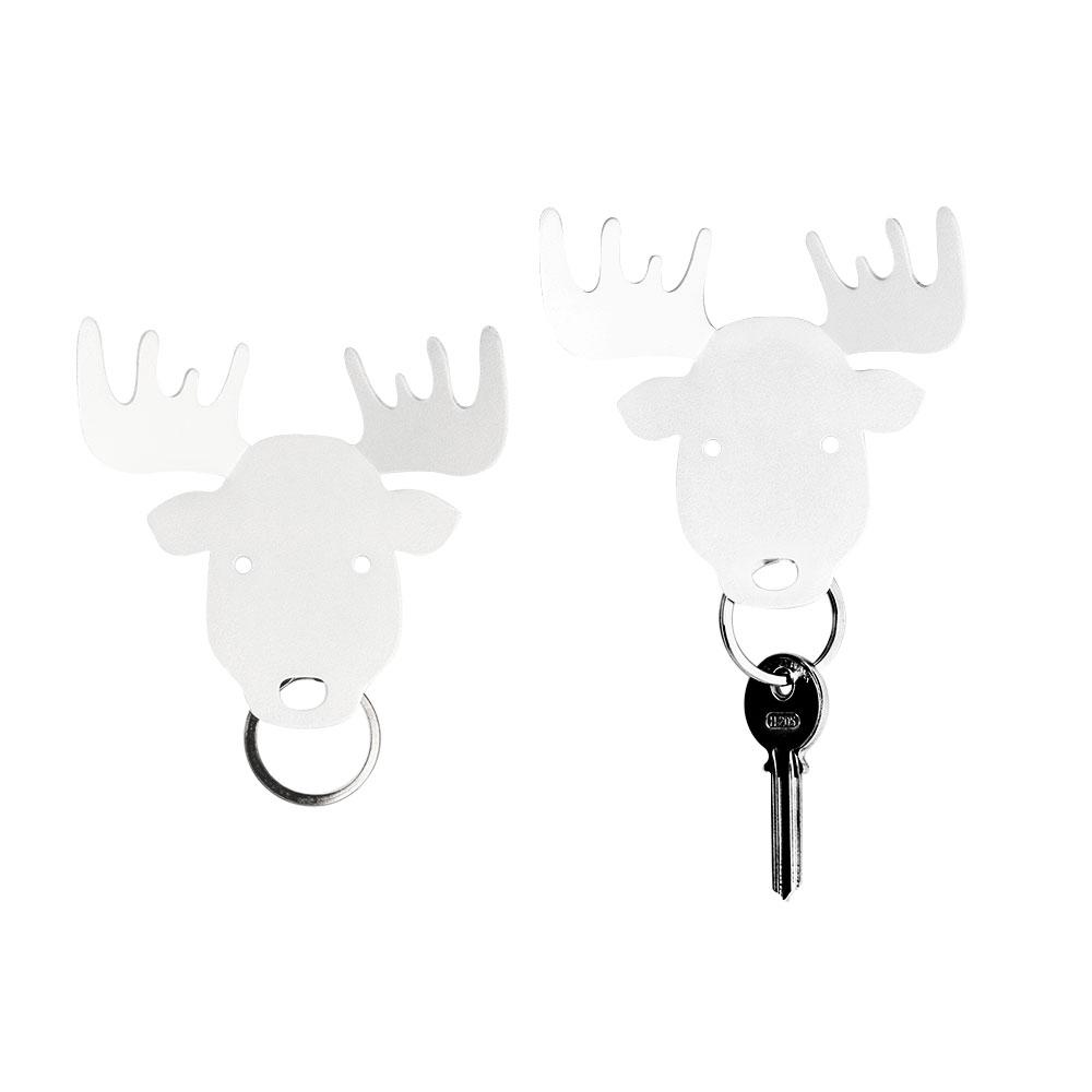 Bull, Deer and Moose Key Holder Key Holders Qualy Moose (White)