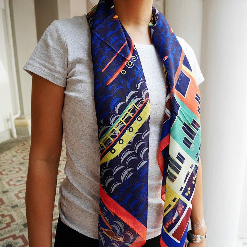 Bumboats on Singapore River Scarf Local Scarves Binary Style
