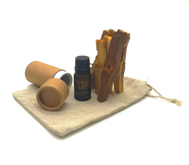 Bundle Set: Palo Santo oil + wood Scented Candles Madam Old