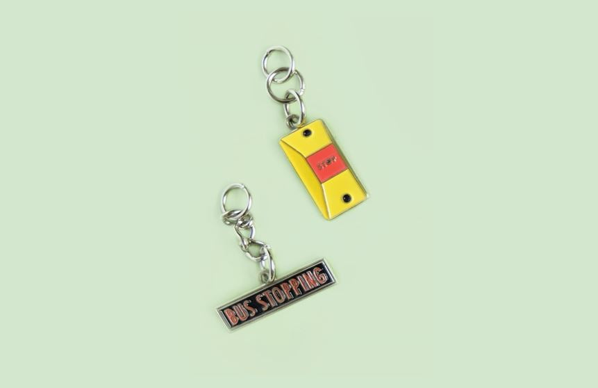 Bus Charms Local Keychains Knackstop Bus Stopping Sign + Bell