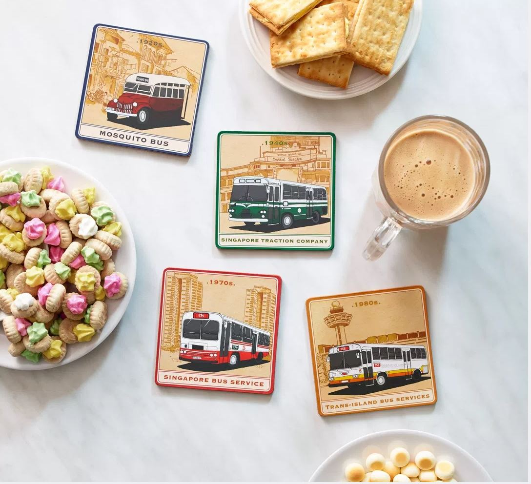 Buses Through the Years - Coaster Set Local Coasters Knackstop