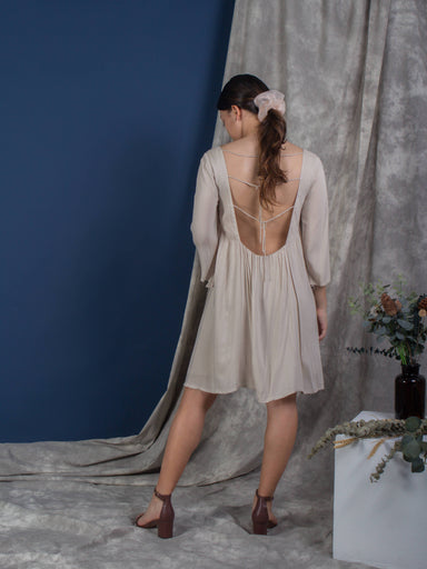 Buttercream Exposed Back Bell Sleeve Dress - Dresses - Whispers & Anarchy - Naiise