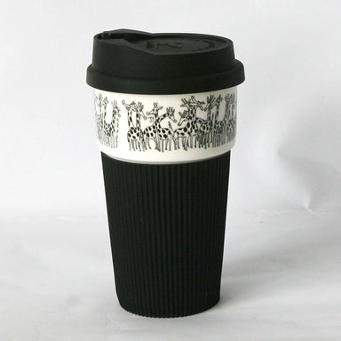 B&W Thermal Mug with Silicon Lid - Giraffes - Thermal Mugs - The Animal Project - Naiise