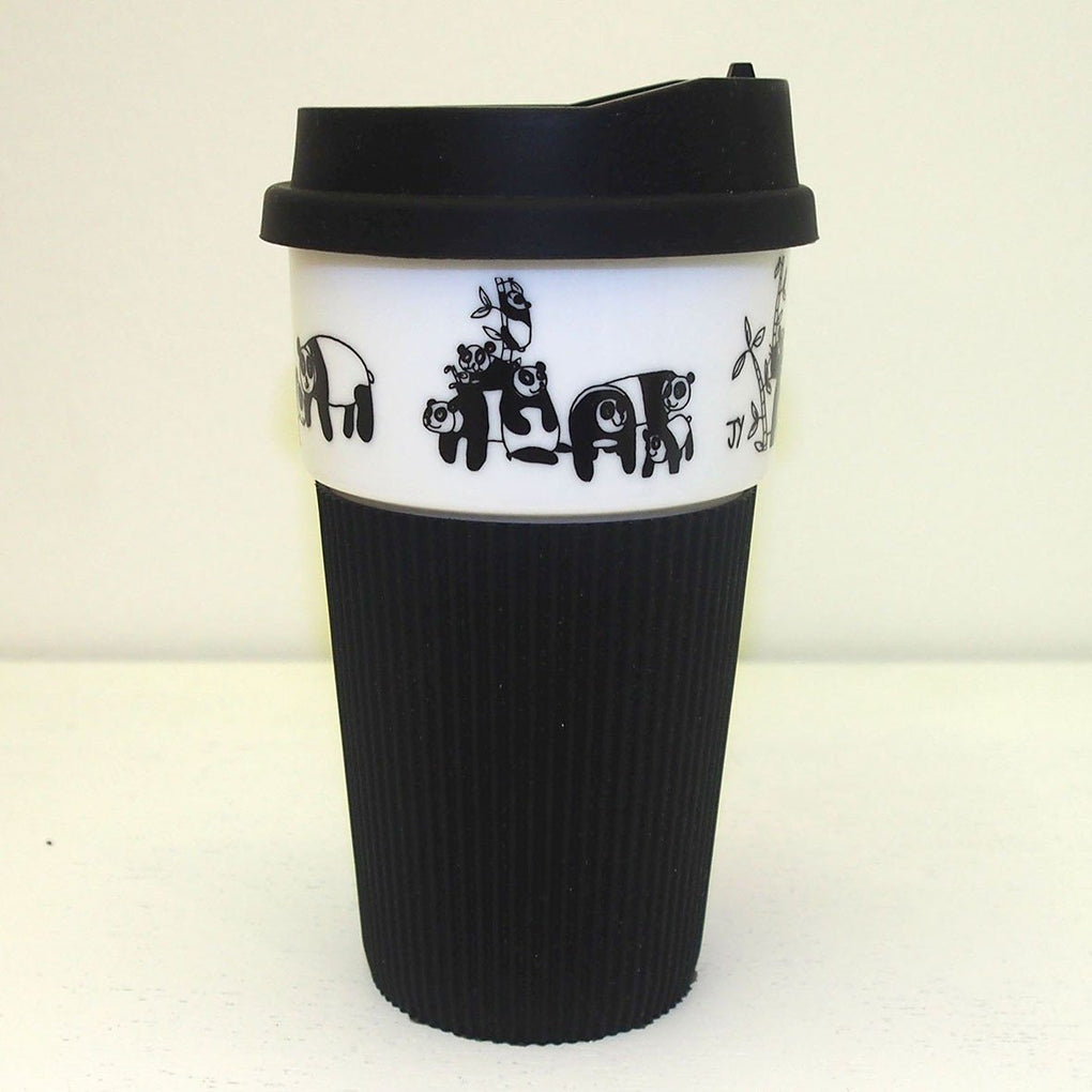 B&W Thermal Mug with Silicon Lid - Pandas Thermal Mugs The Animal Project