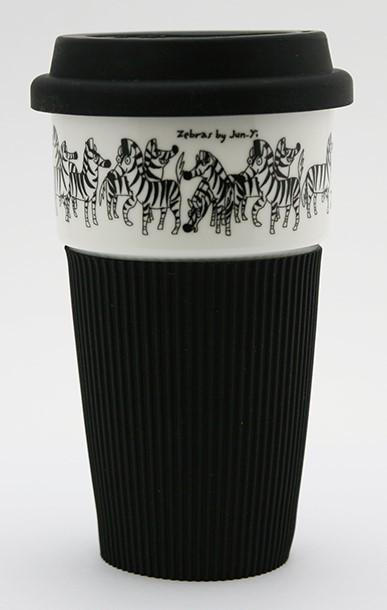 B&W Thermal Mug with Silicon Lid - Zebras - Thermal Mugs - The Animal Project - Naiise