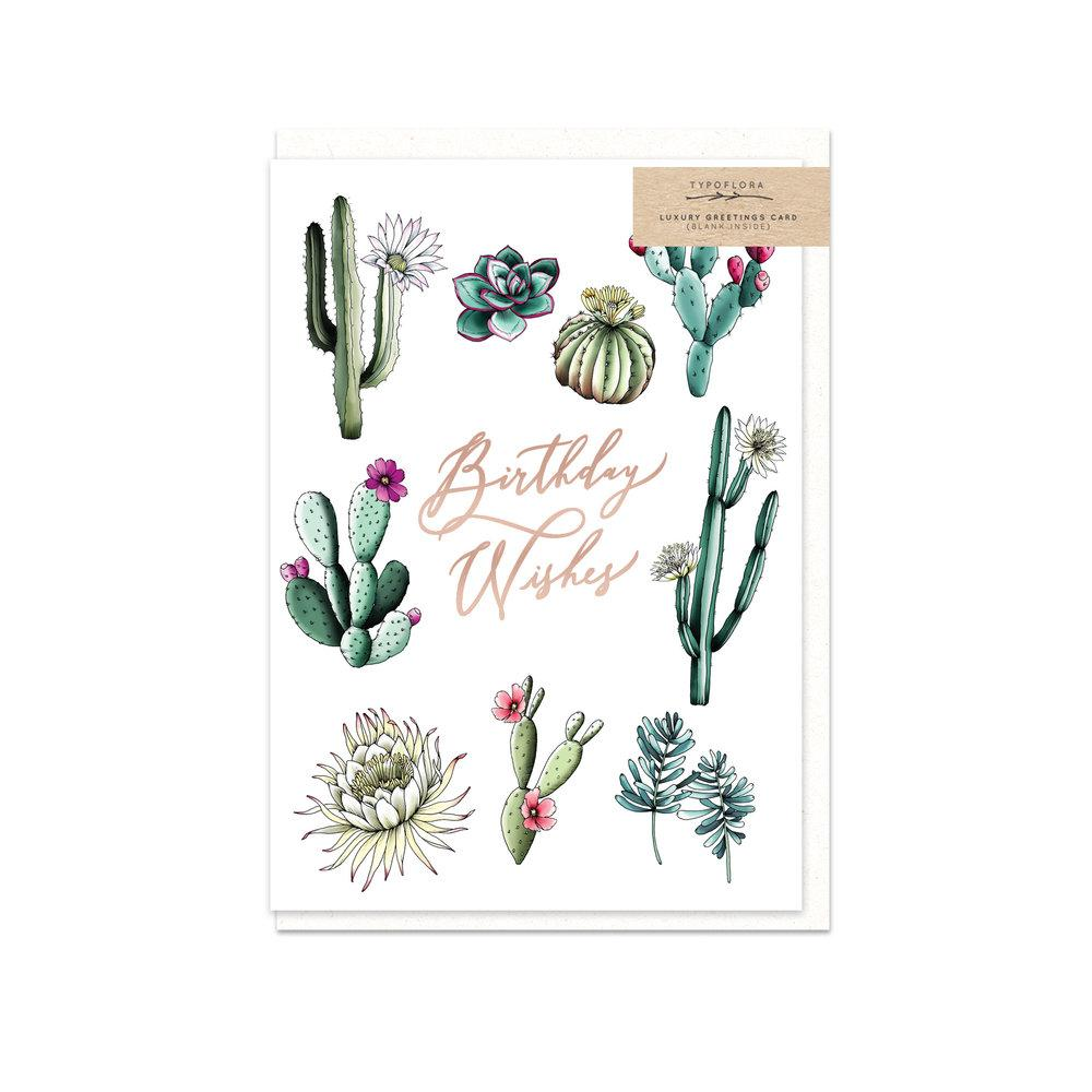 Cactus Birthday Wishes Card Birthday Cards Typoflora