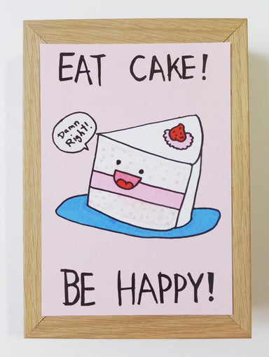 Cake - Eat Cake Be Happy Postcard Postcards Steak & Eggs Please