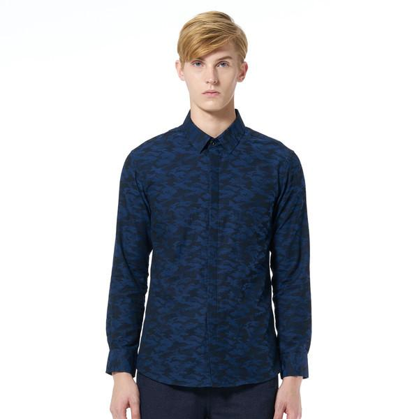 Camo Cool Blue Long Sleeve Shirt - Men's Shirts - Caveman - Naiise