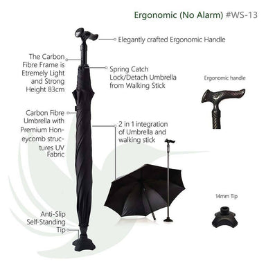 CarbonBond (Smart Umbrella) Walking Canes Agegracefully CarbonBond, Ergonomic (Smart Umbrella)