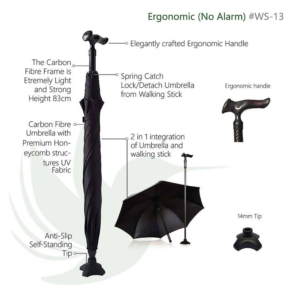 CarbonBond (Smart Umbrella Walking Stick/ Cane/ Aid) Walking Canes Agegracefully CarbonBond, Ergonomic (Smart Umbrella Walking Stick/ Cane/ Aid)