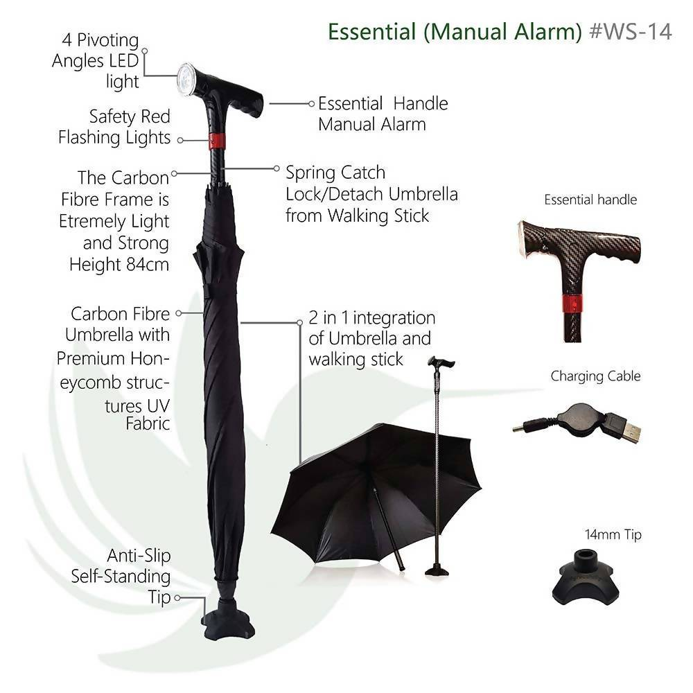 CarbonBond (Smart Umbrella Walking Stick/ Cane/ Aid) Walking Canes Agegracefully CarbonBond, Essential with Manual Alarm (Smart Umbrella Walking Stick/ Cane/ Aid)
