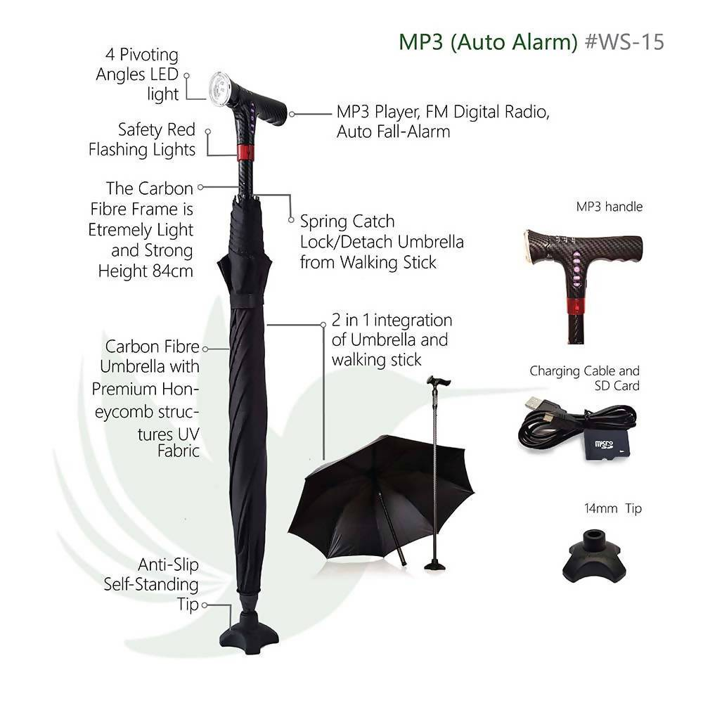 CarbonBond (Smart Umbrella Walking Stick/ Cane/ Aid) Walking Canes Agegracefully CarbonBond, MP3 with Auto Falls-Alarm) (Smart Umbrella Walking Stick/ Cane/ Aid)