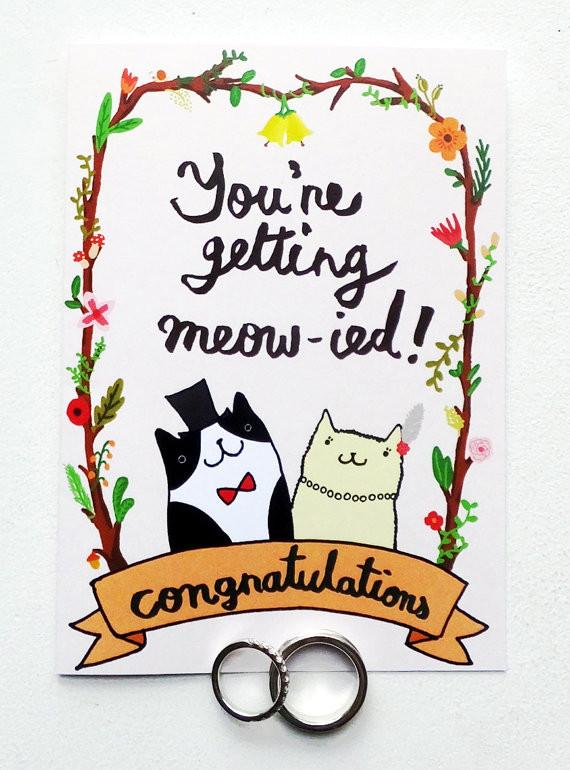 Cats - Getting Meowied Card Wedding Cards Steak & Eggs Please