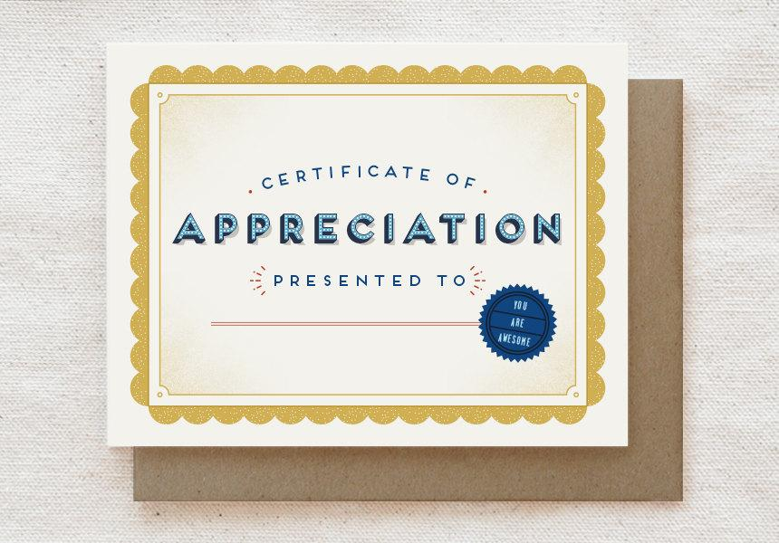 Certificate of Appreciation - Thank You Greeting Card - Thank You Cards - Quirky Paper Co. - Naiise