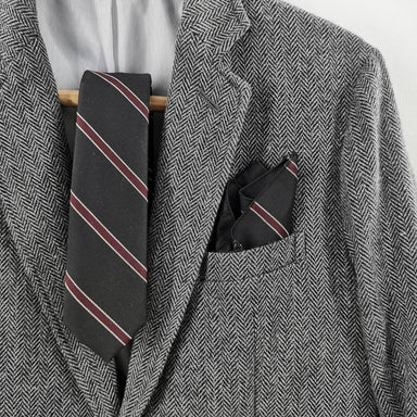 Charcoal Black And Red Stripe Set - Ties - Tuesday Evening - Naiise