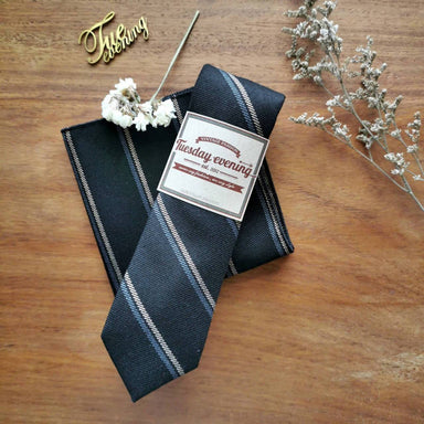 Charcoal Black String Stripe Set - Ties - Tuesday Evening - Naiise