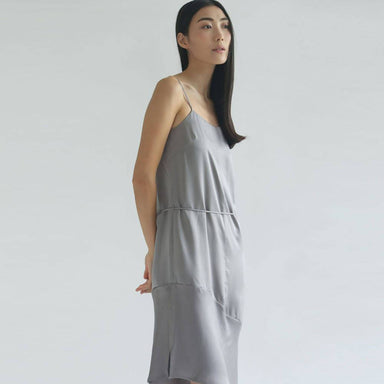 Chasin Asymmetric Slip Dress in Pewter Dresses Salient Label