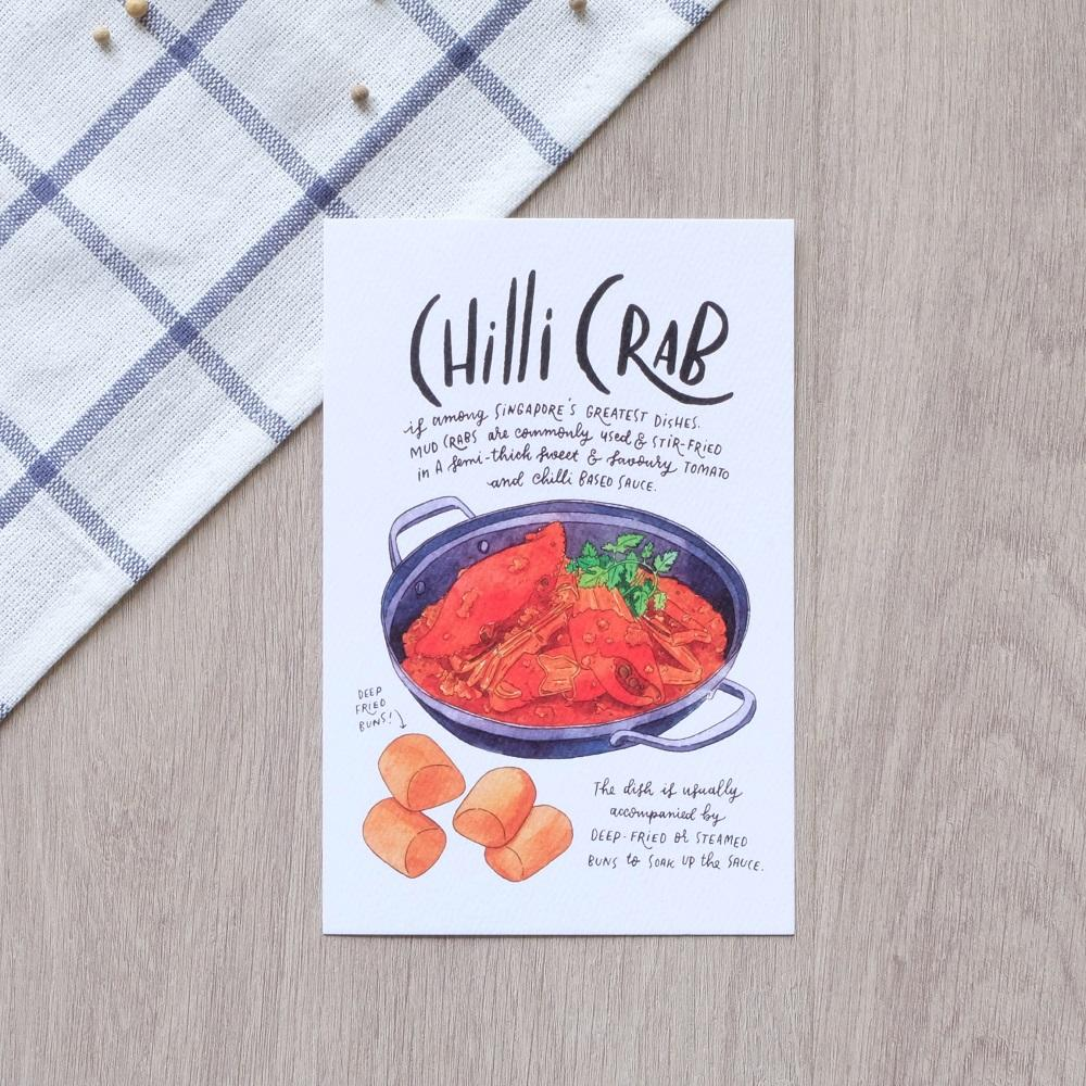 Chilli Crab Postcard - Local Postcards - Just Sketch - Naiise