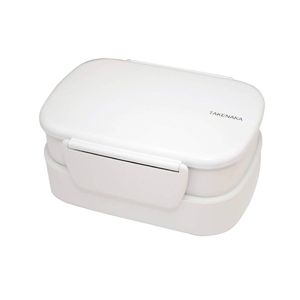 Clip Double Layer Bento Lunch Box - White Lunch Boxes Takenaka