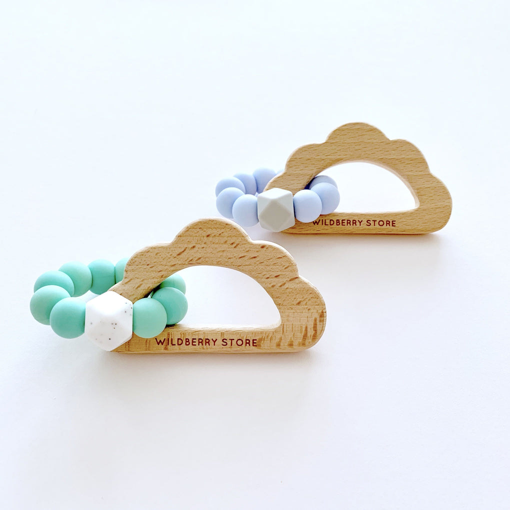 Cloud Loop Teether Teethers Wildberry Store Speckled Teal Green