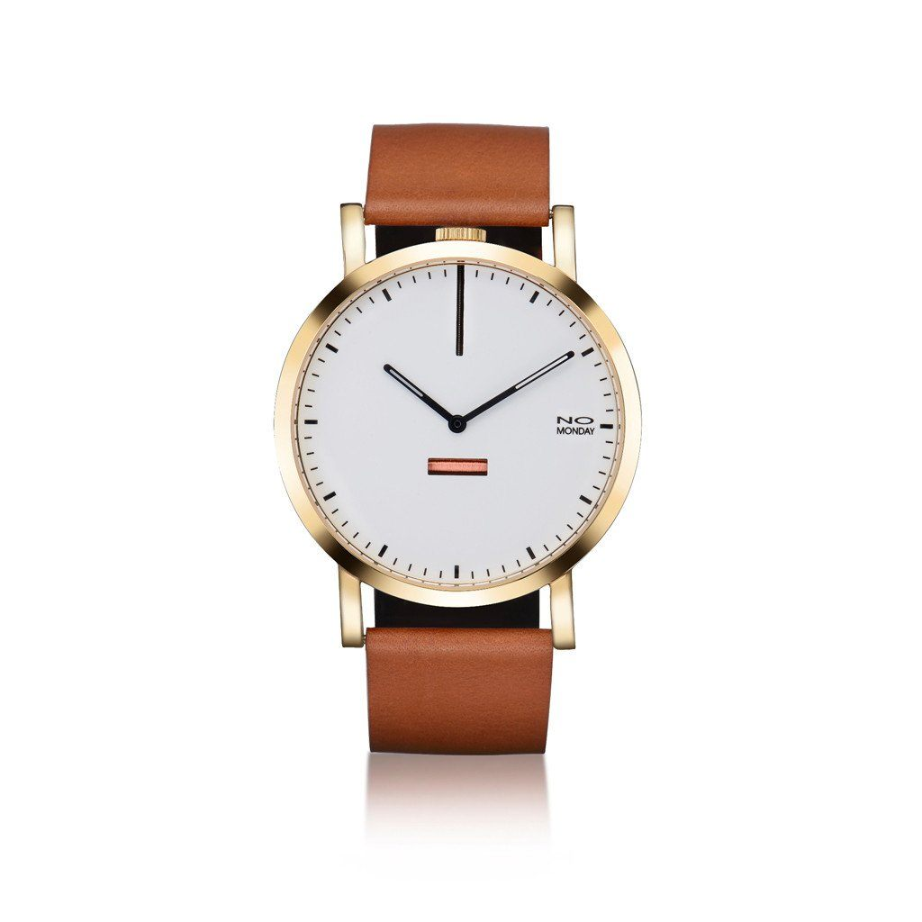 Collection 460 Watch - Gold mirror / White dial/ Tan strap - Watches - NO Monday - Naiise