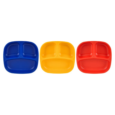 Colorful Set of 3 Divided Plates Children Cutlery Re-Play Primary