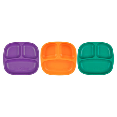 Colorful Set of 3 Divided Plates Children Cutlery Re-Play Royale