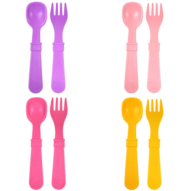 Colorful Utensils 4 sets Forks & Spoons Children Cutlery Re-Play Girl