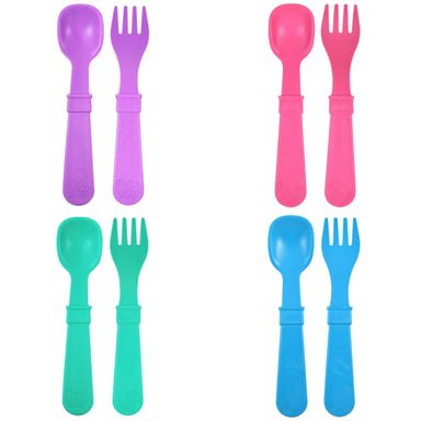 Colorful Utensils 4 sets Forks & Spoons Children Cutlery Re-Play Neutral