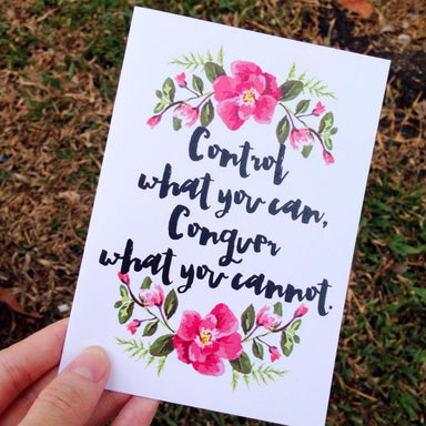 Control What You Can, Conquer What You Cannot Card Print Encouragement Cards Peonies In Print