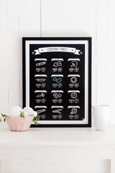 Cooking Times black EN poster 21x30cm //COBLEN2130 - Posters - Follygraph - Naiise