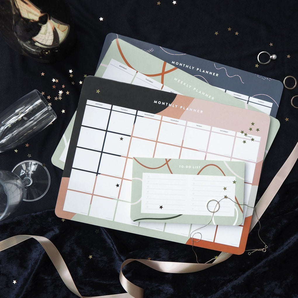 Cora Blush Monthly Desk Planner Planners The Paper Bunny