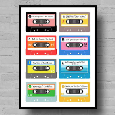 Personalised Cassette Playlist Print - Personalised Prints - Big Red Chilli - Naiise