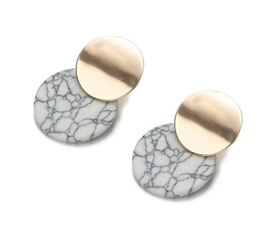 Double Drop Natural Stone Earrings - White Marble - Earrings - Whispers & Anarchy - Naiise