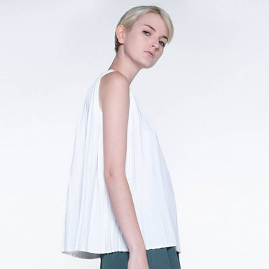 Delaina Pleated Top in Glacier White Women's Tops Salient Label