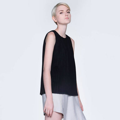 Delaina Pleated Top in Obsidian Women's Tops Salient Label