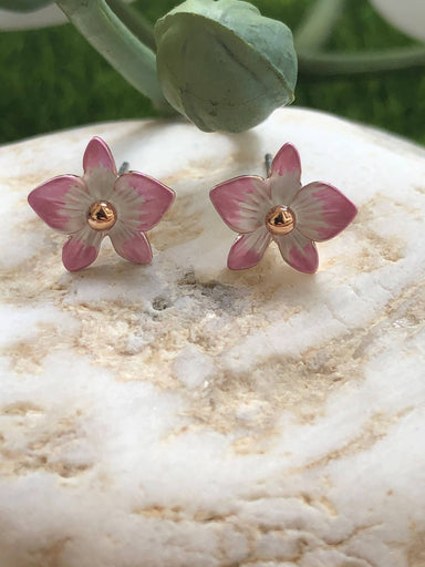 Dendrobium Blush Pink- Petite Orchid Stud Earrings in Rose Gold Plating - Local Jewellery - Forest Jewelry - Naiise